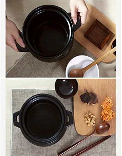 WZF -Stewpan Casserole Pot à ragoût Pot à Soupe en céramique Pot en Pierre Noir à Haute température Pot en Terre avec Couvercle