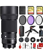 Sigma 105mm f/2.8 DG DN Macro Art Lens Sony E-Mount Bundle with 2X 64GB Extreme Memory Cards, IR Remote, 3 Piece Filter Kit, Wrist Strap, Card Reader, Memory Card Case, Tabletop Tripod
