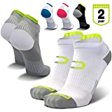 Low Cut Compression Socks for Men & Women (2 Pairs) - Best Running Socks with No Show Athletic Ankle Tab, Heel and Toe Comfort, Arch Support for Hiking, Cycling, Golf, Tennis, Sports, Gym Workout
