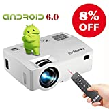 ERISAN Android 6.0 Projector with Free Air Mouse, Built-in WiFi Bluetooth Mini Smart Video Beam, Portable Multimedia LED Proyector for Movie Video Games APP (White)
