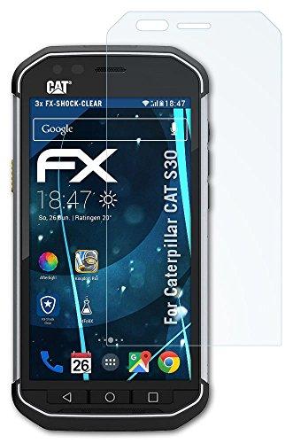 3 x atFoliX Panzerfolie Caterpillar CAT S30 Folie - FX-Shock-Clear ultraklar und stoßabsorbierend