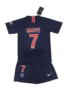 sports shoes 5621b cb5d8 Paris Saint-Germain 7 Kylian Mbappé 2018-19 Home Youths Football Soccer  Kids Jersey & Short