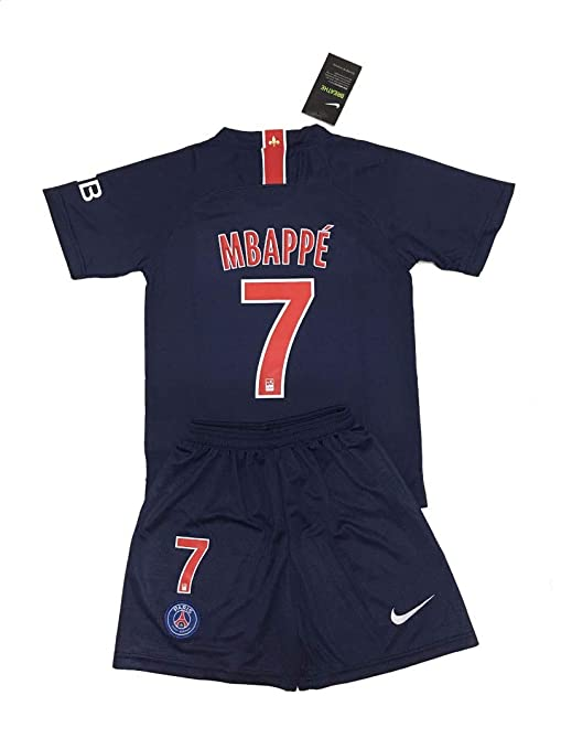 bc5ec1da6 7 Kylian Mbappé 2018-19 PSG Home Youths Football Soccer Kids Jersey & Short  (