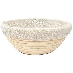 Happy Sales HSPB-10WL, Round Proofing Basket Banneton Brotform 10 inch w/ LINER
