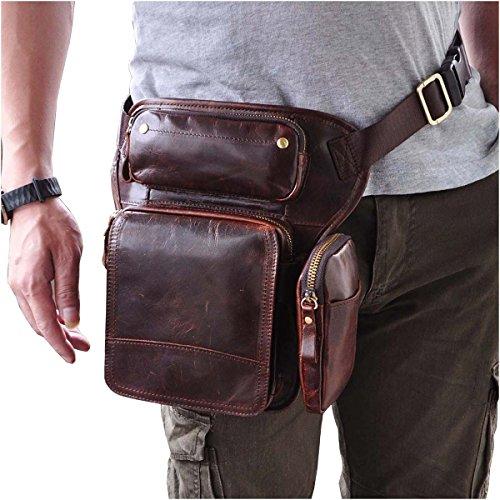 [Le'aokuu Mens Genuine Leather Bike Cycling Waist Hip Bum Fanny Pack Drop Leg Bag (The 3108 Coffee)] (Medium Bag Dark Coffee)