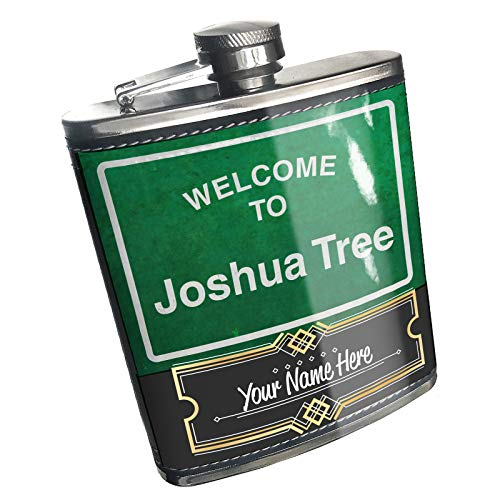 Neonblond Flask Green Road Sign Welcome To Joshua Tree Custom Name Stainless Steel