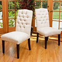 Clark Ivory Soft Fabric Dining Chairs (Set of 2)