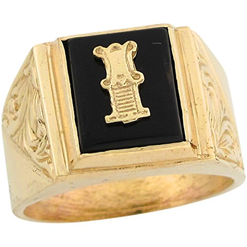 10k Real Gold 12x10mm Rectangle Onyx Letter I Fancy Mens Initial Ring -