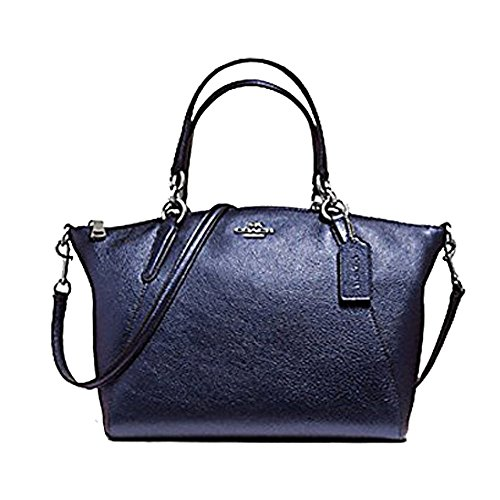 Coach F56127 Kelsey Metallic Navy Pebbled Leather Silver-Tone Hardware Satchel ()