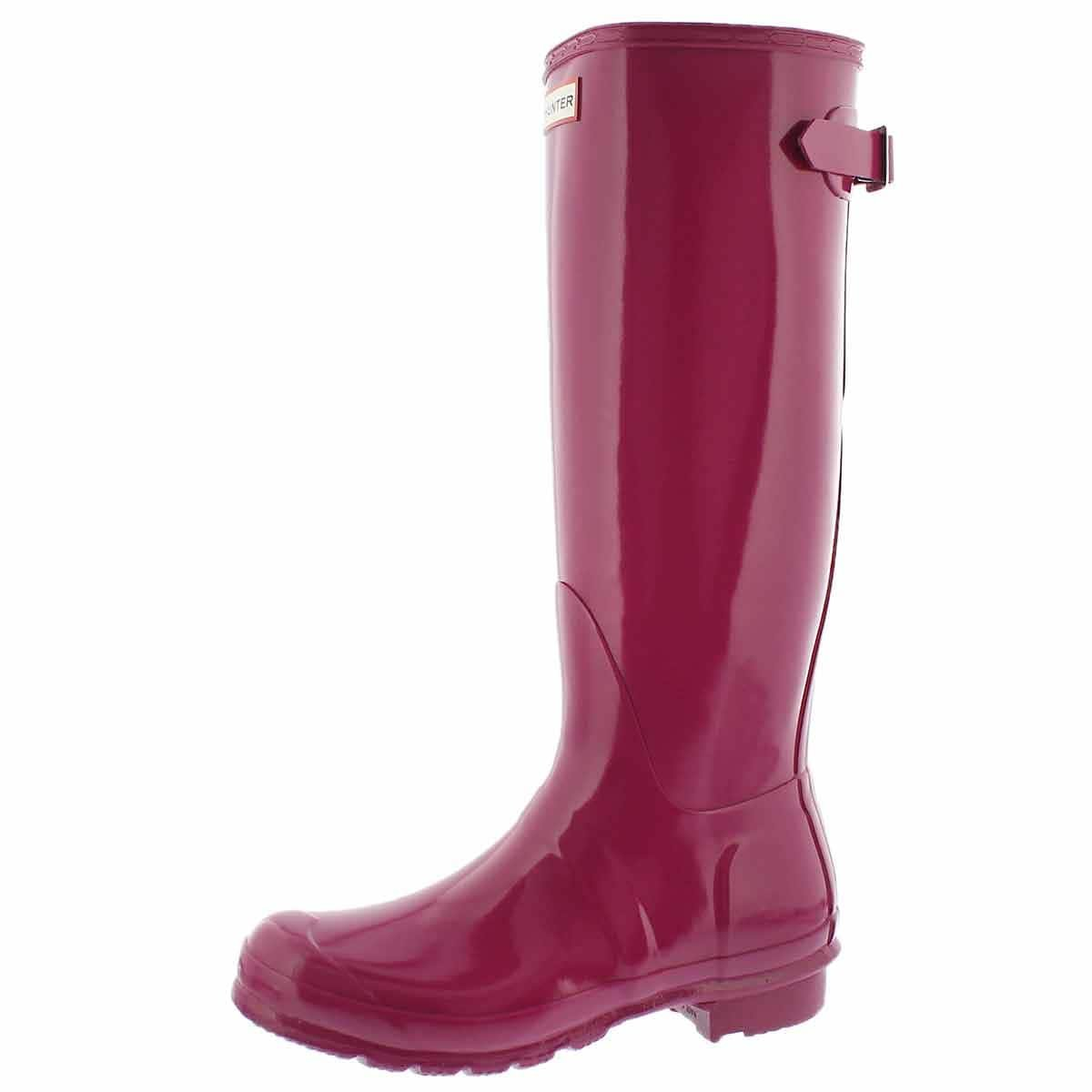 Hunter Boots Women's Original Back Adjustable Gloss Tall Rain Boot Iron Pnk 7 M US