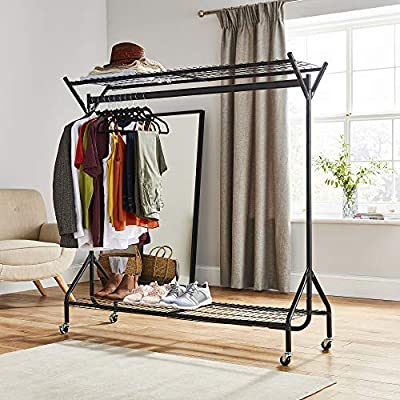 6ft Long x 7ft Tall Direct Online Houseware Two Tier Heavy Duty Clothes Rail Garment Hanging Rack In Black NO TOOLS required Metal