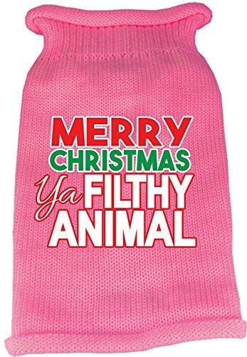 Mirage Pet Products 621-16 LGLPK Ya Filthy Animal Screen Print Knit Light Pink Pet Sweater, Large
