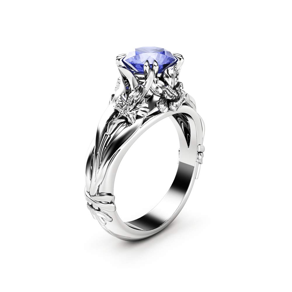 Amazon com: Tanzanite Engagement Ring Solitaire Flower Ring
