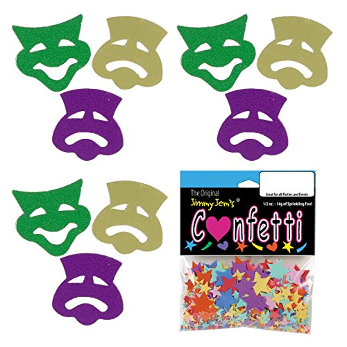Confetti Mask - Comedy & Tragedy Mardi Gras Mix - 4 Half Oz Bags (2 oz) Free Ship - Mask Confetti