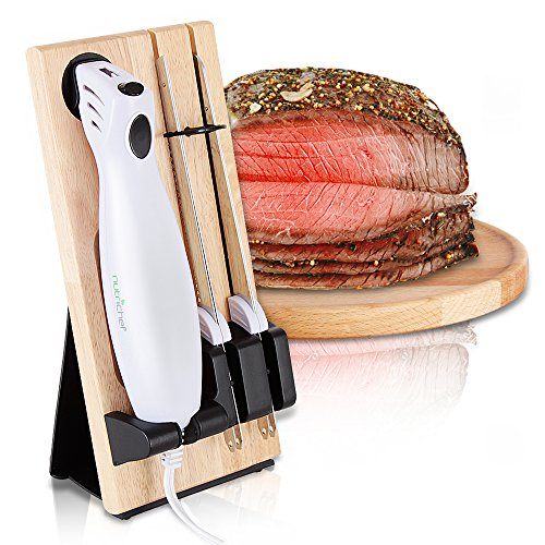 cer Kitchen Knife - Portable Electrical Food Cutter Knife Set with Bread and Carving Blades, Wood Stand, for Meat, Turkey, Bread, Cheese, Vegetable, Fruit - NutriChef PKELKN16 ()