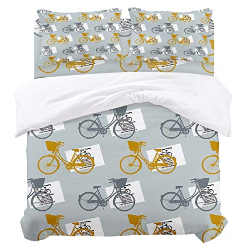 4 Poster Full Piece - DaringOne Stylish (4 Pcs, Full) Full Size Vintage Poster Style Bicycle Bedding Set 4 Piece Lightweight Bed Comforter Covers Includes 2 Pillow Shams
