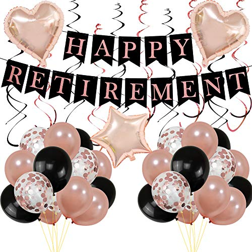 Rose Gold Happy Retirement Decoration Pack, Happy Retirement Banner Bunting Rose Gold Confetti Balloons Foil Swirls Ideal for Women Retirement Party Supplies ()