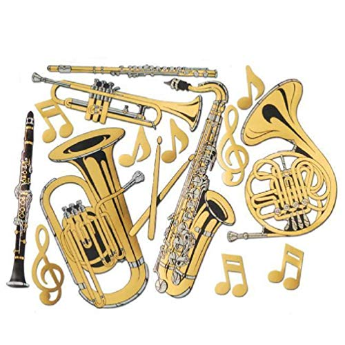 hersrfv home Gold Foil Musical Instrument Cutouts 15 Pack Music Themed Decorations ()