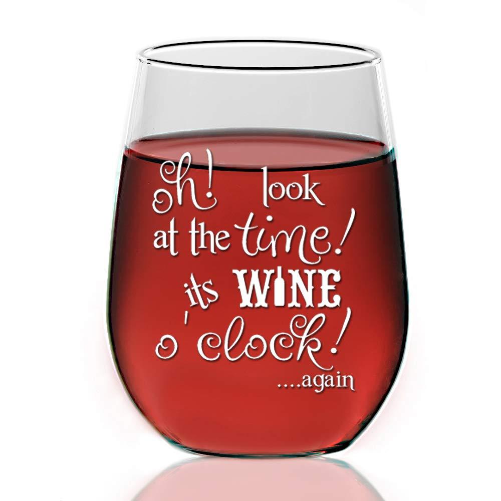 f9cdf02b1e9 Amazon.com   It's Wine O'clock 21 oz Stemless Wine Glass - Engraved ...