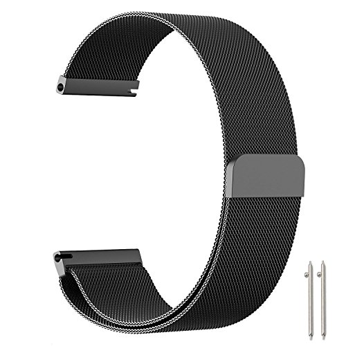 Metou Milanese Loop Replacement Smartwatch Band Magnetic Clasp Mesh Stainless Steel Metal Bracelet Strap for women and man (Black, 18mm) (18 Mm Bracelet Band)