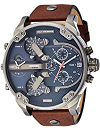 Men's DZ7314 Mr Daddy 2.0 Gunmetal Brown Leather Watch
