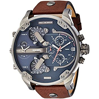 Diesel Mens Mr Daddy 2.0 Quartz Stainless Steel and Leather Chronograph Watch, Color: Grey, Brown (Model: DZ7314)