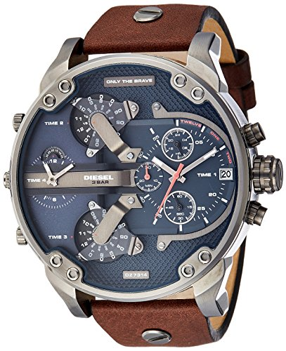 Diesel Men's Mr Daddy 2.0 Quartz Stainless Steel and Leather Chronograph Watch, Color: Grey, Brown (Model: DZ7314) ()