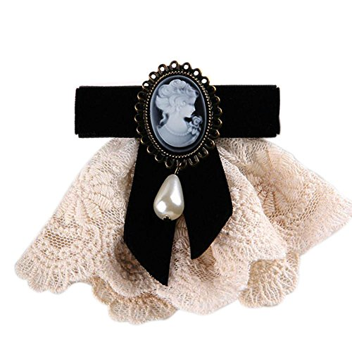 80Hou Women Cameo Pearl Brooch Pin Vintage Lace Bow Jewelry Breastpin For Wedding-black