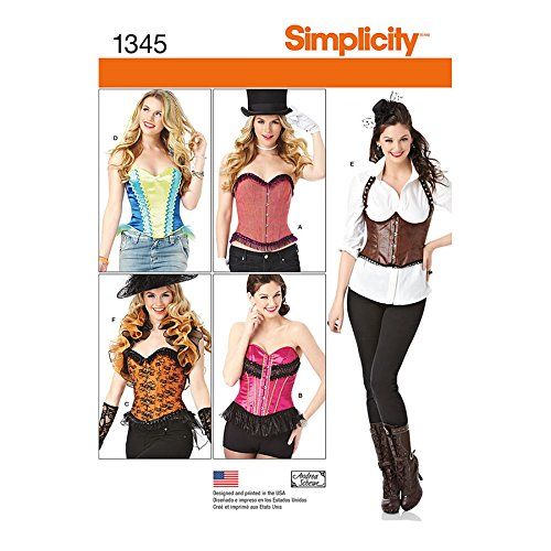 Simplicity Creative Patterns 1345 Misses' Corsets and Ruffled Shrug Sewing Patterns, Size H5 (6-8-10-12-14) (Corset Top Dress Pattern)