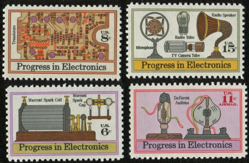 """""""PROGRESS IN ELECTRONICS """" COMPLETE SET! MARCONI SPARK COIL ~ PRINTED CIRCUIT BOARD ~ MICROPHONES, TUBES & SPEAKERS ~ DEFOREST AUDIONS ~ STAMPS COLLECTOR'S COMPLETE SET (SCOTT #1500, 1501, 1502, C086) -  United States Postal Service (USPS)"""