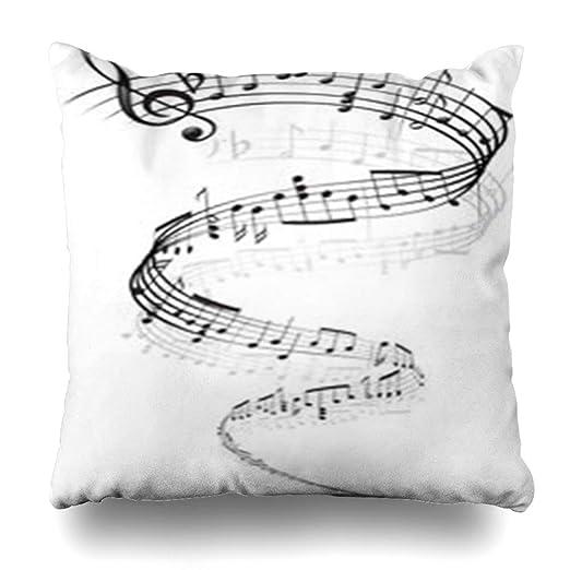 VanYES Fundas de almohada ángulo hoja notas musicales ...