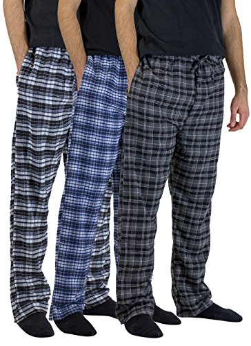 - Real Essentials 3 Pack:Men's Cotton Super Soft Flannel Plaid Pajama Pants/Lounge Bottoms,Set 5-M