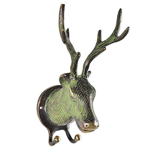 (Indianshelf Handmade 1 Artistic Vintage Black Brass Patina Deer Antlers Key Hooks Hangers/Wall Hooks for)