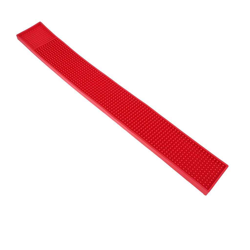 MagiDeal Rubber Beer Bar Service Spill Mat Water Proof PVC Mat Kitchen Tool 8x58cm Red