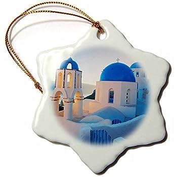 3dRose orn_149764_1 Greece Santorini Church Domes Greek Architecture Snowflake Ornament, 3-Inch, Porcelain