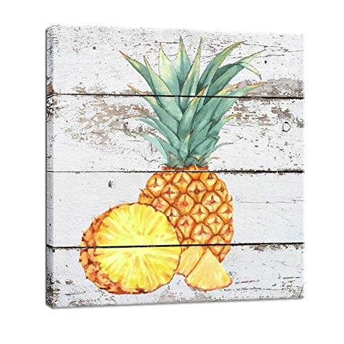 (BOLUO Framed Pineapple Wall Art Decor Canvas Paintings Posters Vintage Picture 12x12in (Pineapple))