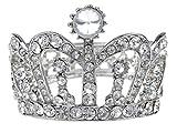Alilang Silvery Tone Clear Crystal Colored Rhinestones Crown Tiara Princess Cuff Bracelet