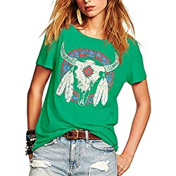 Romastory Women's Street Style Printed T-shirts Short Sleeve Loose Tops Tee Shirt (S, Green)