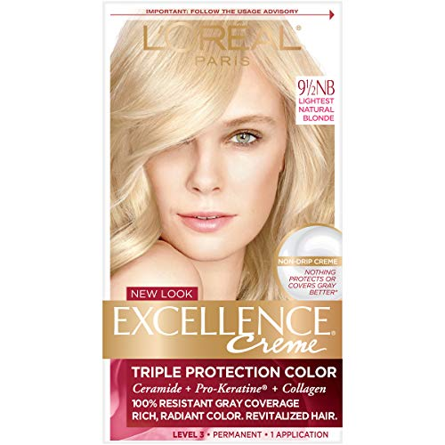 L'OrÃal Paris Excellence CrÃme Permanent Hair Color, 9.5NB Lightest Natural Blonde, 1 Count 100% Gray Coverage Hair Dye (Tintes Para El Cabello)