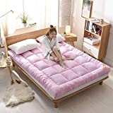 HM&DX Thick Folding Futon Mattress, Tatami Floor Mattress Quilted Comfort Hypoallergenic Fitted Mattress pad Dorm Bedroom -Pink Twin-XL 39x79in