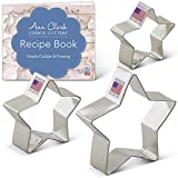 "Ann Clark Cookie Cutters 3-Piece Star Cookie Cutter Set with Recipe Booklet, 2"", 2.75"", 3.5"" - Tin Plated Steel"