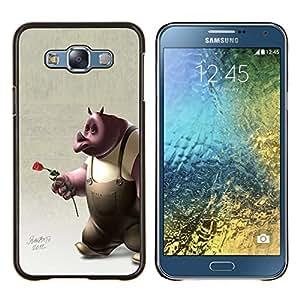 LECELL--Funda protectora / Cubierta / Piel For Samsung Galaxy E7 E700 -- Rose 3D Cartoon Character amor de Rose --