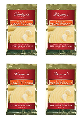 Vegan Instant Banana Pudding- 4 Pack by Vivian's Live Again Dairy Free, Soy Free, Gluten Free by Vivian's Live Again