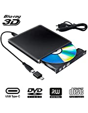 Externe Graveur Lecteur CD DVD Blu Ray 3D USB Type C USB 3.0 Ultra Slim de DVD CD-RW pour Mac OS, Linux, PC Windows XP/Vista / 7/8/10