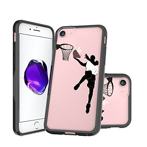 iPhone 7 Case, iPhone 8 Case Clear, Basketball Lay-Up Shoot Pattern Printed Clear Design Transparent Plastic Hard Back with TPU Bumper Protective Case Cover for Apple iPhone 7 and iphone (Hard Basketball)