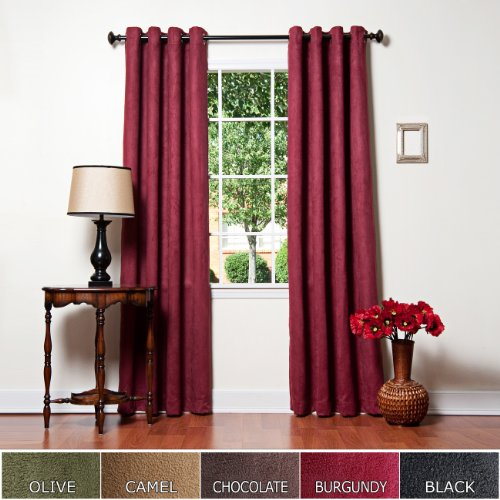 (Best Home Fashion Thermal Insulated Faux Suede Blackout Curtains - Antique Bronze Grommet Top - Burgundy - 52