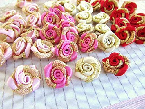 Ribbon Art Craft Decoration 40 Satin & Gold 2 Tone Ribbon Rose Flower/Trim/Sewing/Craft/Red/Pink/Ivory F97