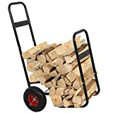 LEMY Firewood Log Cart Log Carrier Fireplace Wood Mover Hauler Rack Caddy Dolly Rolling Fire Storage Cart Trolley Black