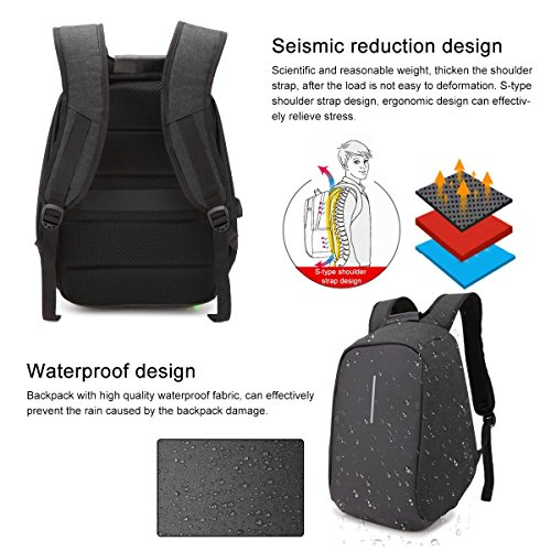Black thief Men Zipper and ONENICE College with USB Backpack Anti Compartment for Hidden Travel Women Port Laptop with Business Daypack Waterproof Bag Charging Lightweight gdw1fn