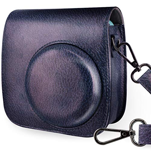 WOLVEN Protective Case Bag Purse Compatible The Fugifilm Mini 9 / Mini 8 / Mini 8+ Instant Camera, Vintage Navy Grain -